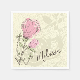 Personalized Pink Magnolia Bloom | Napkin Paper Napkins