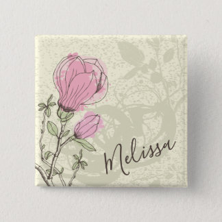 Personalized Pink Magnolia Bloom Pin Button