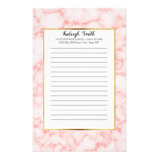Personalized Pink Marble Graduation Year School Stationery