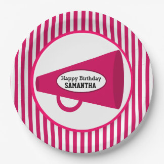 Personalized Pink Megaphone And Pink Stripes 9 Inch Paper Plate