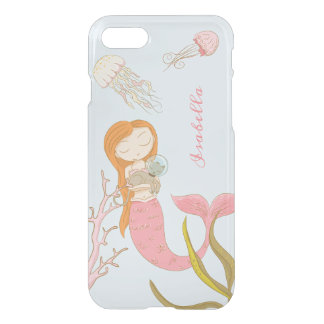 Personalized Pink Mermaid Ocean Clear iPhone case