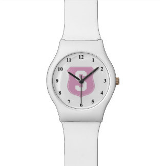 Personalized pink monogram letter sports watch