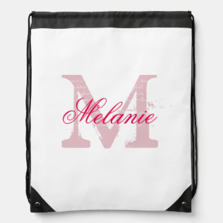 Personalized pink monogram wedding drawstring bag
