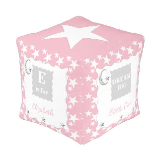 Personalized Pink moon and stars baby girl Pouf