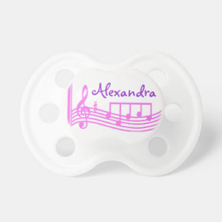 Personalized Pink Music Notes Treble Clef  Binky Pacifier