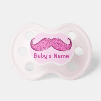Personalized Pink Mustache Pacifier for Babies