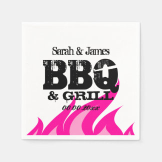 Personalized pink napkins for BBQ wedding party