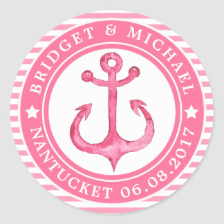 Personalized Pink Nautical Anchor Wedding Stickers