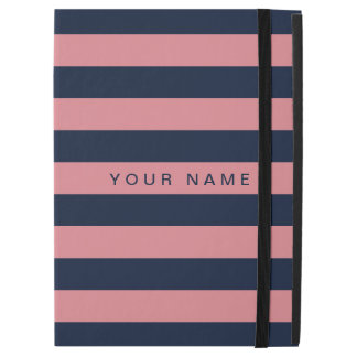 "Personalized Pink & Navy Blue Striped iPad Pro 12.9"" Case"
