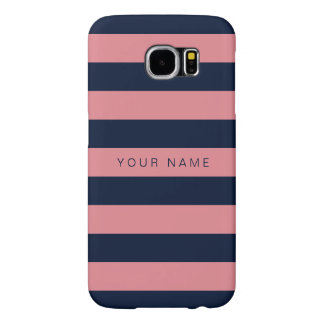 Personalized Pink & Navy Blue Striped Samsung Galaxy S6 Case