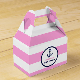 Personalized Pink/Navy Girl Nautical Baby Shower Party Favor Boxes
