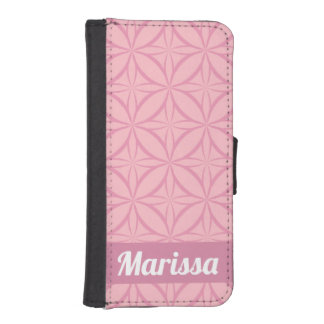 Personalized Pink on Pink Geometric Pattern iPhone SE/5/5s Wallet Case