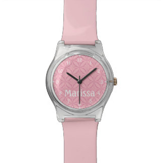 Personalized Pink on Pink Geometric Pattern Wrist Watch