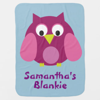 Personalized Pink Owl Blankie Receiving Blankets