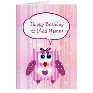 Personalized Pink Owl Happy Birthday Card