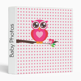 Personalized,Pink Owl,Polka Dots Pattern Binder
