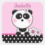 Personalized Pink Panda Stickers