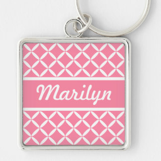 Personalized Pink Pattern Keychain