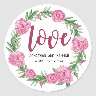 Personalized Pink Peony Floral Wedding Love Classic Round Sticker
