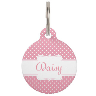 Personalized Pink Polka Dot Pet ID Tag