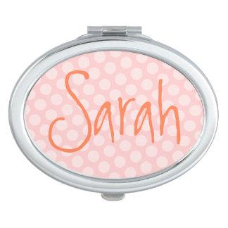 Personalized Pink Polka Dot Vanity Mirror
