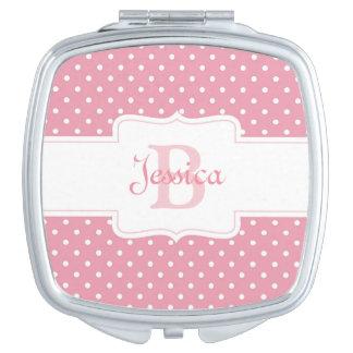Personalized Pink Polka Dot Vanity Mirrors