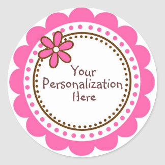 Personalized Pink Polka Dots and Scallops Classic Round Sticker