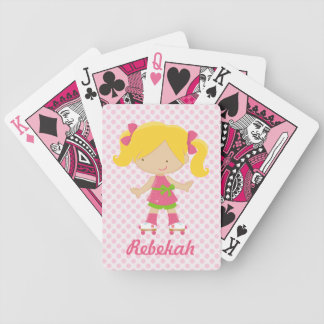 Personalized Pink Polka Dots Blonde Roller Skating Bicycle Playing Cards