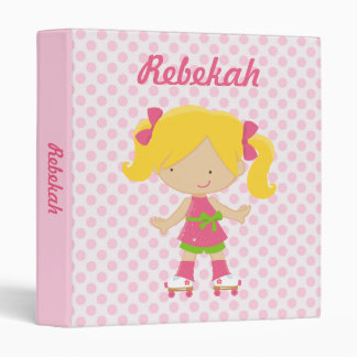 Personalized Pink Polka Dots Blonde Roller Skating Binder