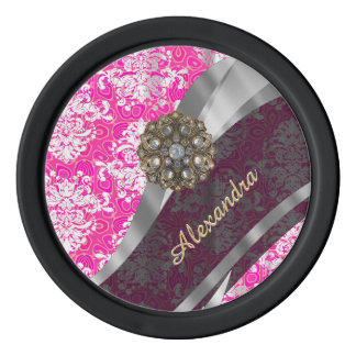 Personalized pink pretty girly damask pattern poker chips set