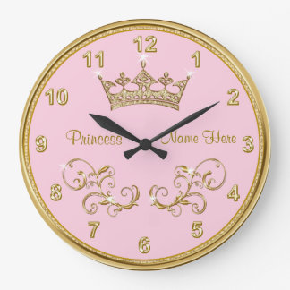 Personalized PINK Princess Clock with Gold Accents