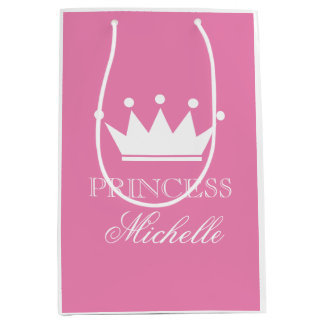 Personalized pink princess crown gift bag for girl