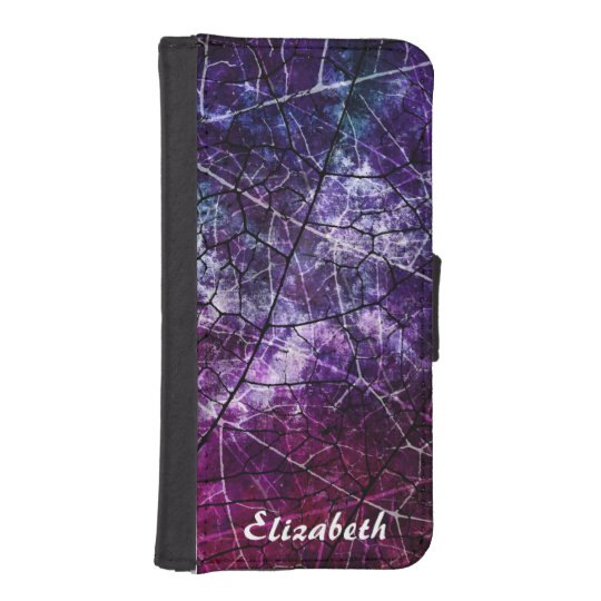 Personalized Pink Purple Crackled Lacquer Texture iPhone 5 Wallet Cases