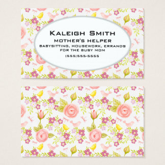 Personalized Pink Purple Floral  Mother's Helper Business Card