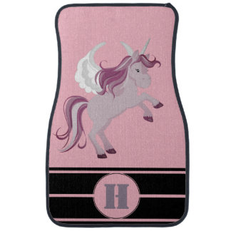 Personalized Pink Purple Unicorn Racing Stripes Car Mat