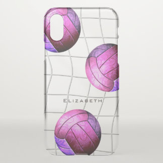 personalized pink purple women's volleyball iPhone x case