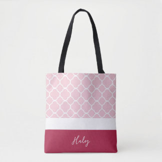Personalized Pink Quatrefoil with Darker Bottom Tote Bag