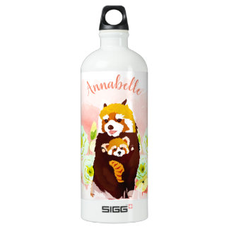 Personalized Pink Red Panda Mom Baby Water Bottle