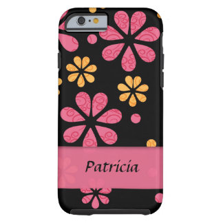 Personalized Pink Retro Flowers On Black Tough iPhone 6 Case