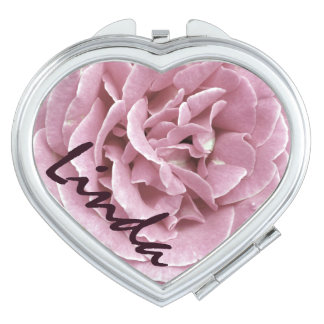 Personalized Pink Rose Compact Mirror