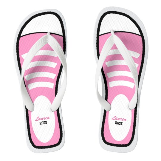 Personalized Pink Sneakers Flip Flops