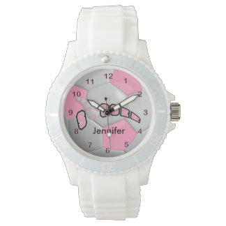 Personalized Pink Soccer Ball Wristwatches
