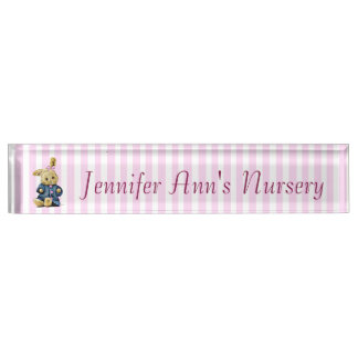 Personalized Pink Striped Bunny Baby Nursery Name Name Plate