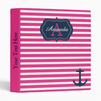 Personalized Pink Stripes Nautical Anchor Binder