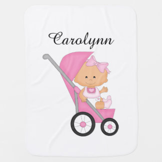 Personalized Pink Stroller Baby Blanket