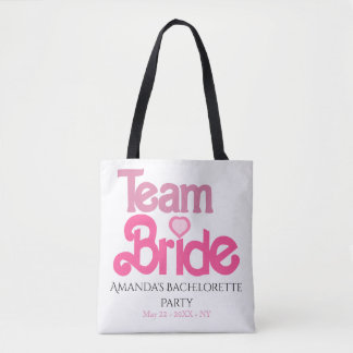 Personalized pink team bride tote bag