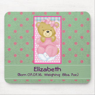 Personalized Pink Teddy Bear Baby Keepsake Mouse Pad