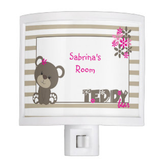 Personalized Pink Teddy Bear Night Light