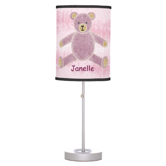 Personalized Pink Teddy Bear Nursery Lamp