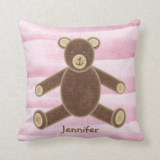 Personalized Pink Teddy Bear Pillow For Baby Girls